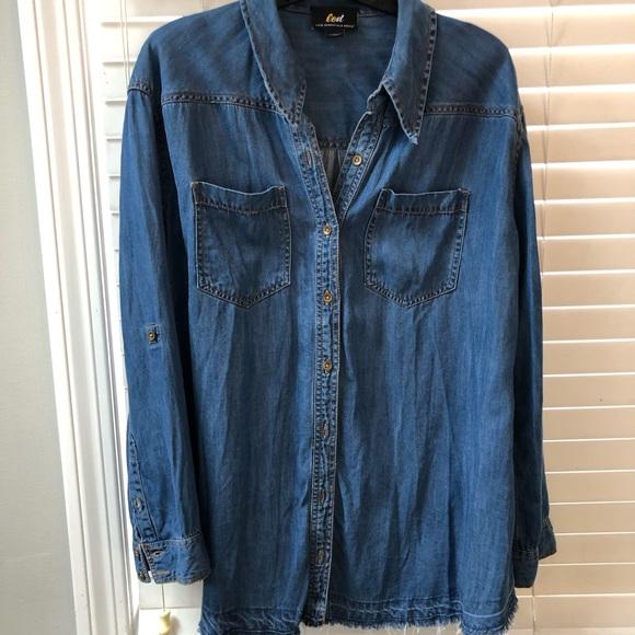 b7c4dbaa1cd58 Luxe Essentials Apparel Tops   Womens Maternity Jean Button Up Shirt ...